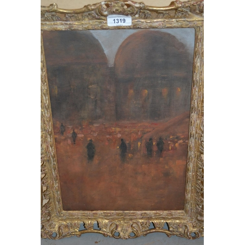 1319 - Oil on board, figures in a Continental town square at night, 14.5ins x 10ins...
