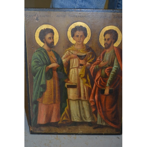 1321 - Antique Continental icon on panel, portrait of three Saints, extensively inscribed, 13.5ins x 10.5in...