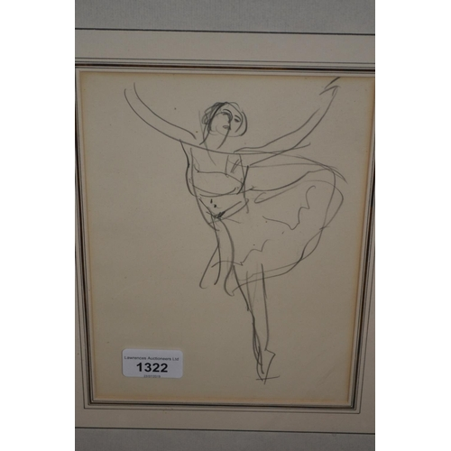 1322 - Attributed to Dame Laura Knight, pencil drawing, study of a dancer, 9ins x 6.5ins...