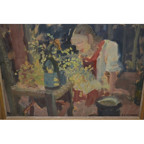 1324 - Dorothy G Dymock, (Slade School), oil on panel, figure tending flowers in an interior, signed, 11.5i...