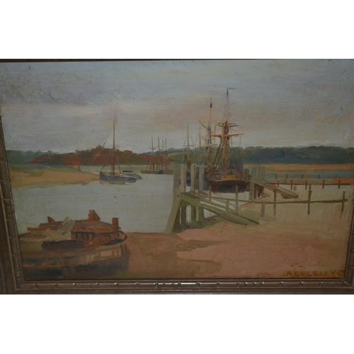 1325 - Albert E. V. Lilley signed oil on panel, boats moored in an estuary, 10ins x 14ins...