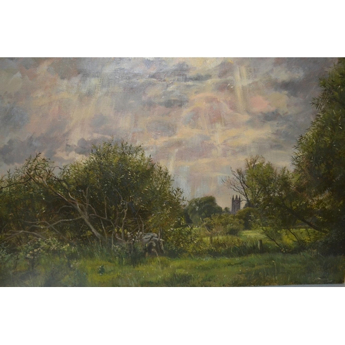 1327 - Two unframed oils on canvas, inscribed verso, ' On the golf links, Queens Park, Bournmouth ', signed...