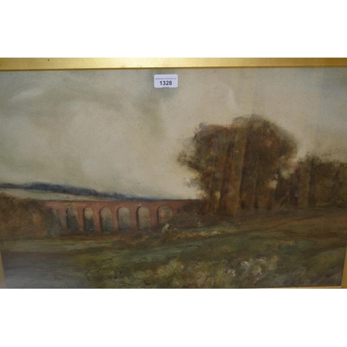 1328 - Edgar Patrickson (George) signed watercolour, landscape with figure and viaduct...