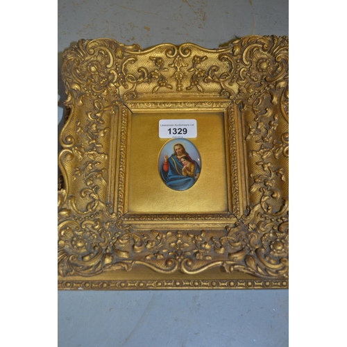 1329 - 19th Century minature painted plaque, portrait of Christ with infant, heavy gilt framed...