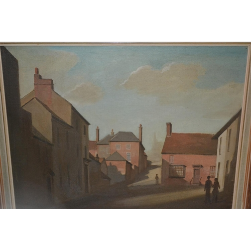 1330 - Dorish H. Decarteret,  signed oil, a street in Arundel, (artists label verso), 16ins x 20ins...