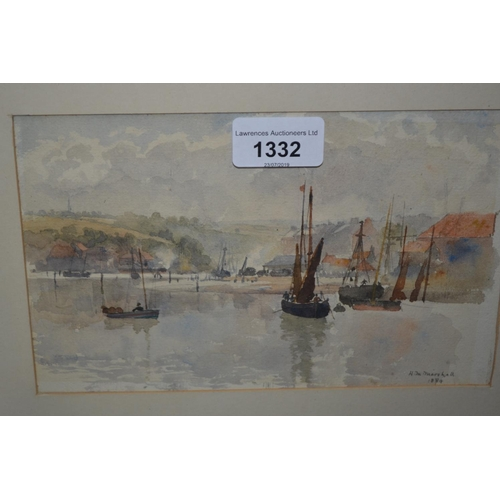 1332 - Herbert Menzies Marshall signed watercolour, boats in a coastal inlet, 5.25ins x 8.25ins...