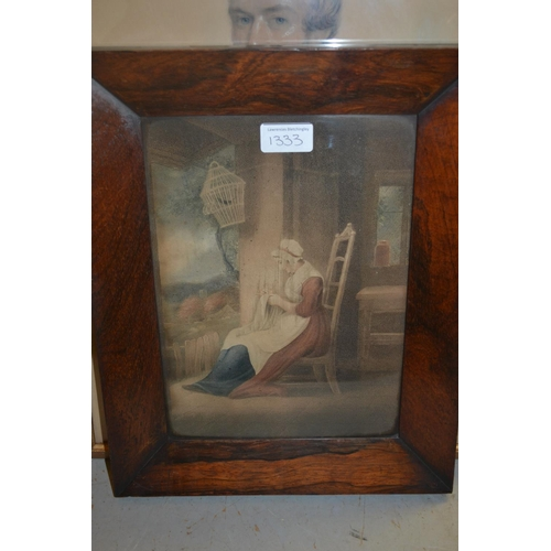 1333 - Pair of 19th Century rosewood stipple engravings, rural scenes...