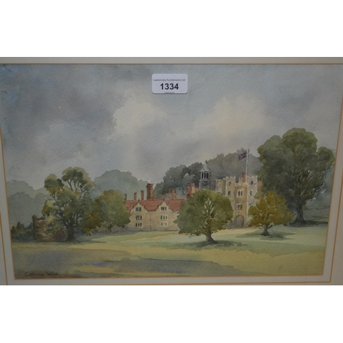 1334 - Catherine Wiles watercolour, view at Knole House Sevenoaks, signed 10ins x 14ins framed...