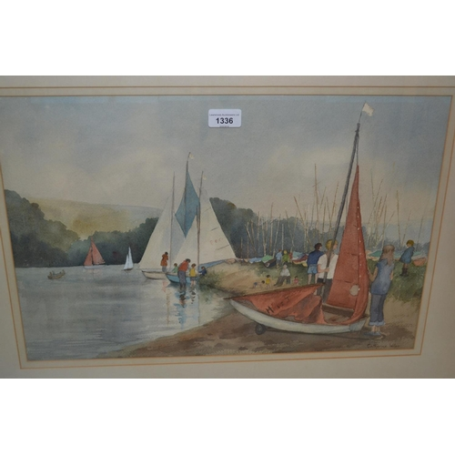 1336 - Caterine Wiles, watercolour, August Bank Holiday, Chipstead Lake , signed, 14ins x 21ins, framed...