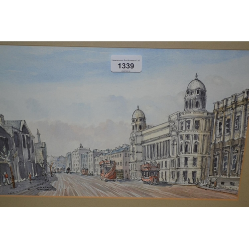 1339 - D.A. Atkins, ink and watercolour, view at Whitehall, London, signed, 8ins x 13.5ins, framed...