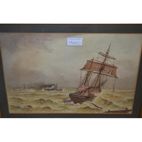 1340 - 19th Century oil on canvas, view of Old Shoreham toll bridge, 9ins x 17.5ins, gilt framed, together ...