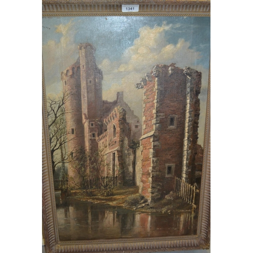 1341 - 19th Century oil on canvas, castle ruins, signed indistinctly, 24ins x 15.5ins, gilt framed...