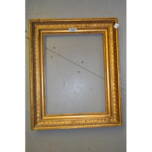 1342 - Rectangular gilt moulded composition picture frame, the aperture 14.5ins x 11ins together with a map...