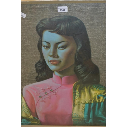1344 - Coloured portrait print of an Eastern lady after Tretchikoff...