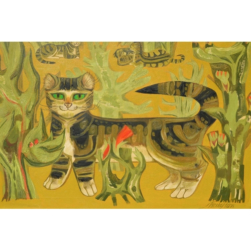 1345 - Sheila Flinn, oil on canvas, stylised study of cats, signed 19ins x 26ins , gilt framed with origina...