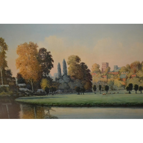 1346 - A Wilson Burns oil on canvas golden evening Guildford, a river scene with distant buildings, signed ...