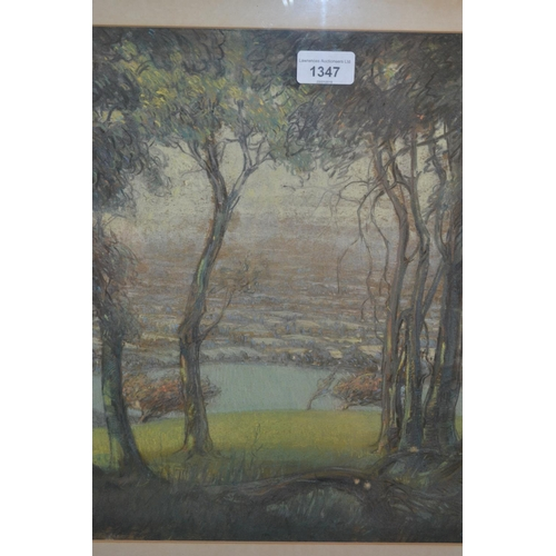 1347 - Croxson pastel study, landscape through trees, signed, 15ins x 16ins, framed...