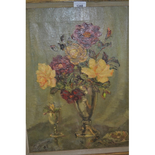 1348 - Stanley Grimm, oil on canvas, still life, flowers in a glass vase, signed, dated '48, gilt framed, 1...