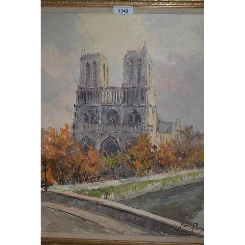 1349 - 20th Century oil on canvas, view of Notre Dame, signed Marin Paris, 19.5ins x 15.5ins, gilt framed...