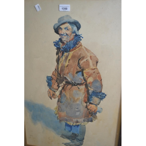 1350 - Anton Frolka, watercolour, study of a vagabond, signed , 26ins x 16ins, framed...