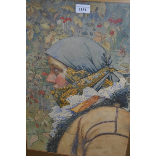1351 - Watercolour head and shoulder portrait of a girl in blue headscarf, 21ins x 14ins, gilt framed...