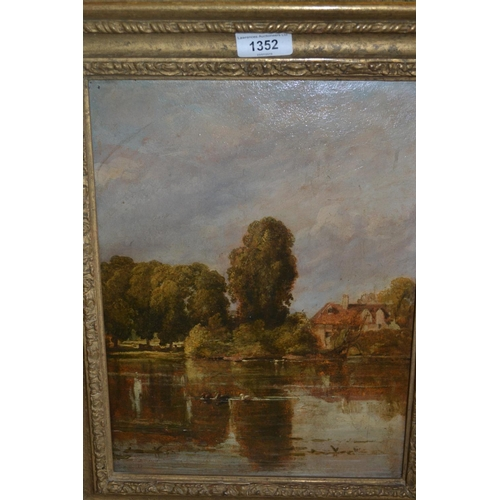1352 - Oil on panel, lake scene with ducks to the foreground, 12.5ins x 9.5ins, gilt framed...