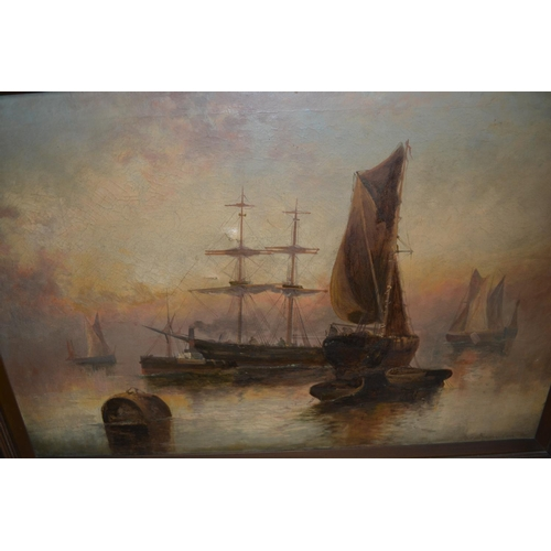 1354 - F.E. Jamieson, oil on canvas, shipping scene with steam and sail ships, signed, 19.5ins x 29.5ins, g...