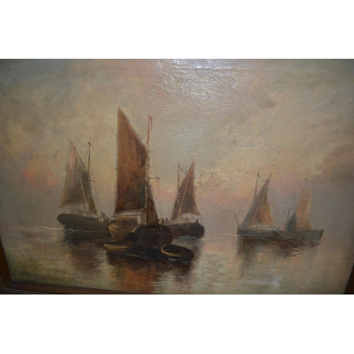 1356 - F.E. Jamieson, oil on canvas, various sailing vessels, signed 19.5ins x 29.5ins , gilt framed (with ...