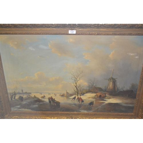 1357 - C Cooman, oil on canvas, a frozen lake scene with figures skating on a lake with distant windmills, ...