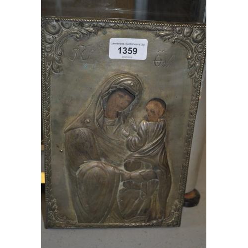 1359 - 19th Century painted and silver plated icon of the Madonna and child...
