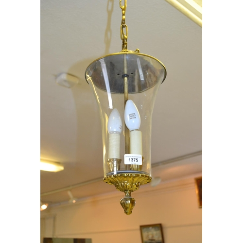 1375 - Gilt brass and glass hall lantern...