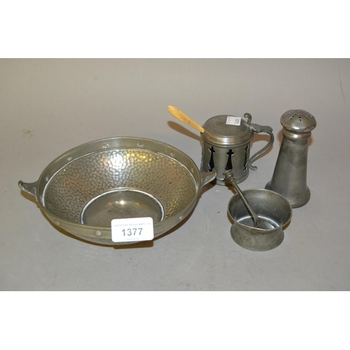 1377 - Three 19th Century pewter condiments together with a 20th Century beaten pewter shallow bowl...