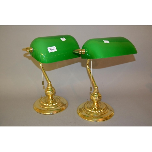 1380 - Pair of 20th Century brass and green glass desk lamps...