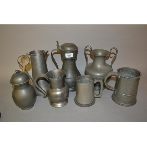 1385 - Pewter tappit hen, quart measure and other items of pewter...