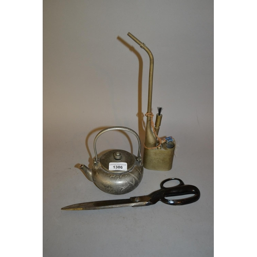 1386 - Japanese patinated metal teapot, a brass opium pipe and a pair of drapers shears...