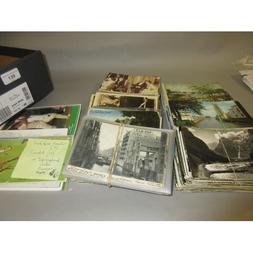 139 - Box of approximately six hundred plus postcards, mainly topographical, including: some comical cards...