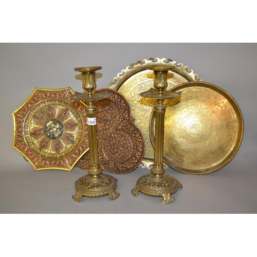 1394 - Pair of 19th Century gilt brass fluted column candlesticks together with another brass adjustable co...