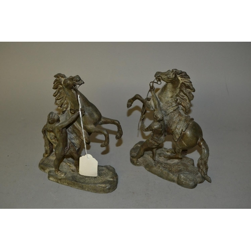 1397 - Pair of small patinated spelter Marli horse groups...