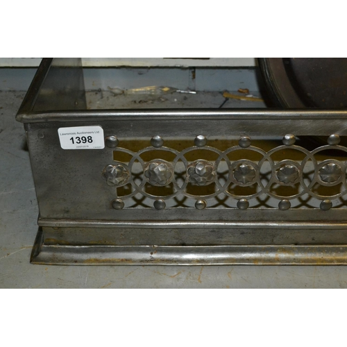 1398 - 19th Century pierced and polished steel fireplace fender...