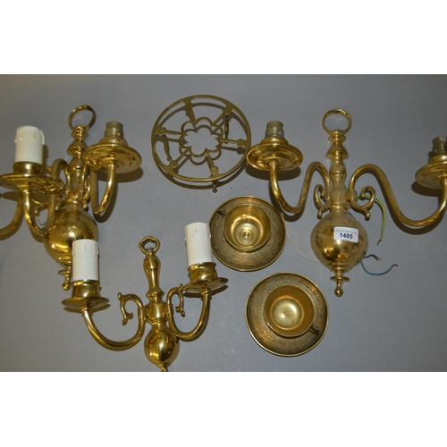 1405 - Pair of brass two branch wall lights, similar smaller two branch wall light, two brass teacups with ...