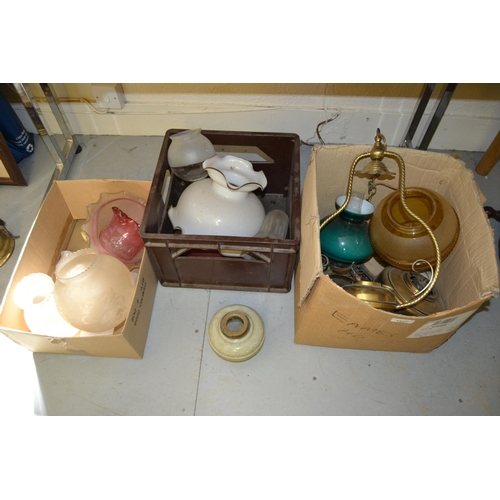 1407 - Three boxes containing a quantity of various 19th Century oil lamp parts including an enamel porcela...