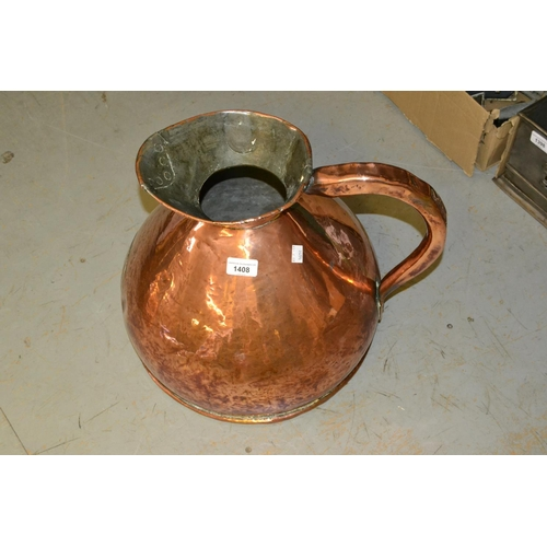 1408 - Large 19th Century copper one gallon measure...