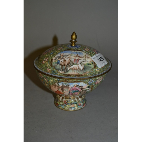 1426 - Enamel decorated on copper pedestal bowl with cover decorated with panels (extensive damage)...
