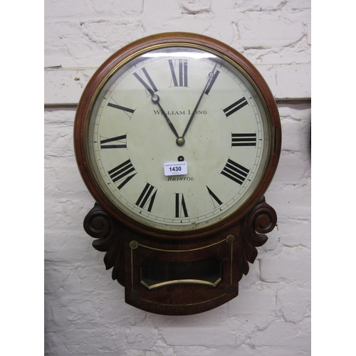 1430 - 19th Century mahogany drop dial wall clock, the circular painted 12in dial with Roman numerals, insc...