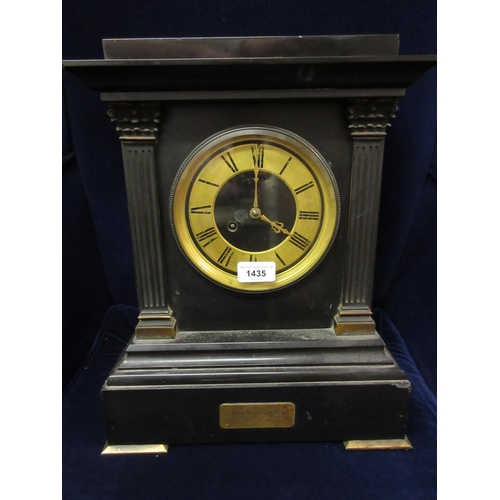 1435 - 19th Century black slate and gilt metal mounted mantel clock, the rectangular case with flanking pil...