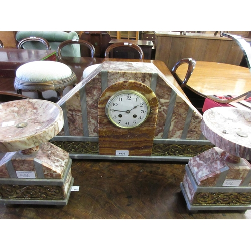 1436 - Large Art Deco pink flecked and grey marble three piece clock garniture with gilt metal mounts, the ...