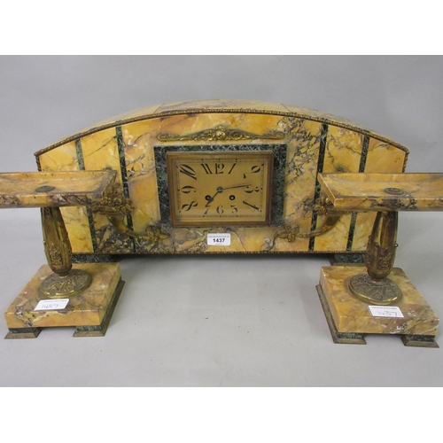 1437 - Large Art Deco Carrera marble and serpentine mounted three piece clock garniture with further gilt m...