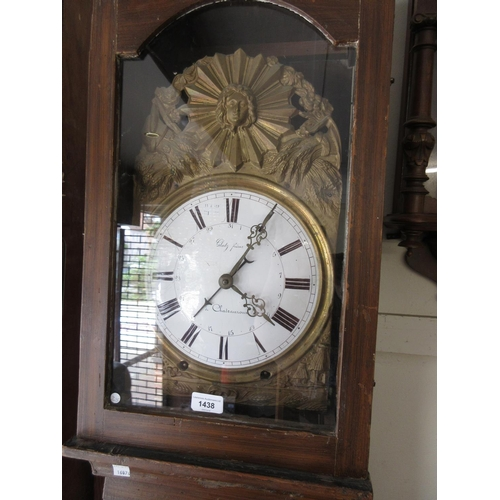 1438 - 19th Century French comtoise longcase clock, the grained pine case enclosing an embossed brass and e...