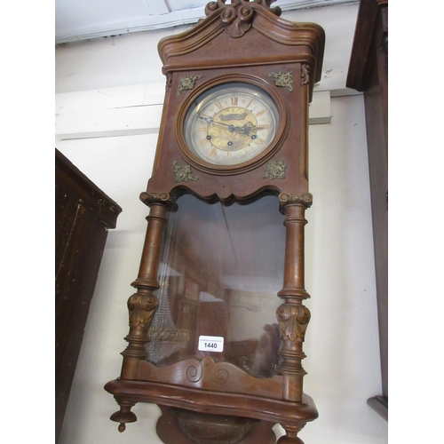1440 - Late 19th / early 20th Century beechwood cased Vienna style wall clock with a pierced foral surmount...