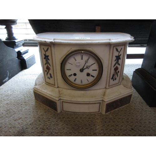 1443 - 19th Century white marble and Pietra Dura inlaid mantel clock, the enamel dial with Roman numerals a...